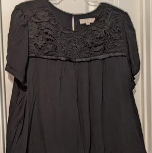 Loft black top, lace & fringe accent. Size 24